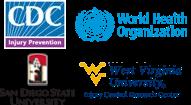 Logos for C.D.C., W.H.O., W.V.U., and S.D.S.U.